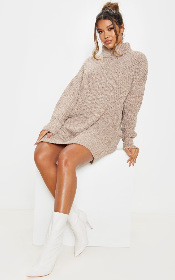 Camel Oversized High Neck Knitted Sweater Dress  4