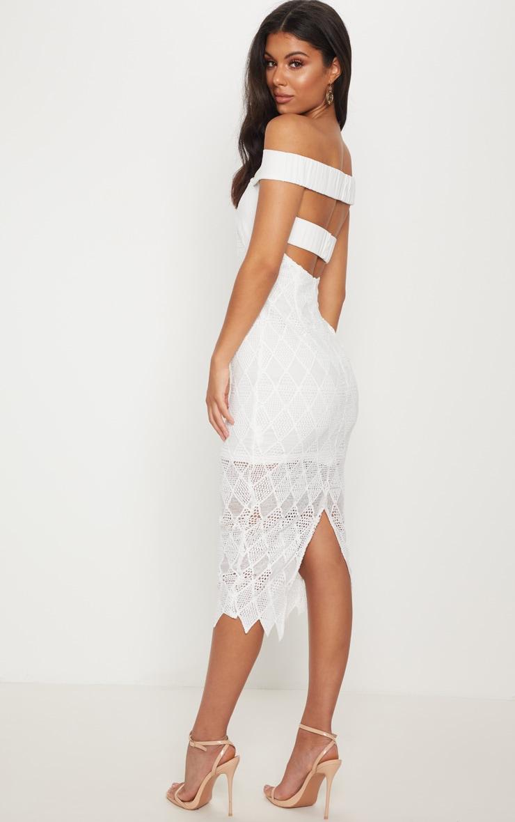 5352e25d9415 White Lace Strappy Bardot Midi Dress image 1
