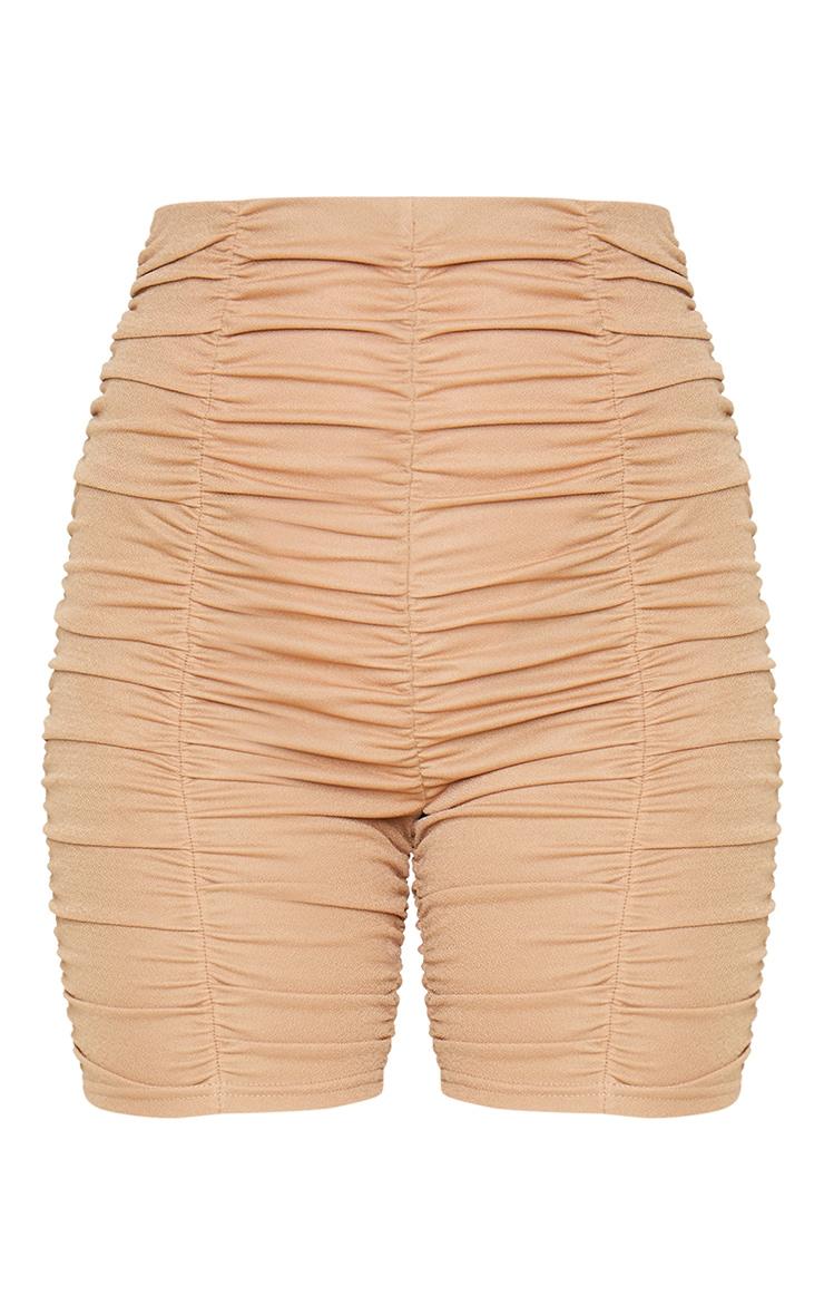 Camel Ruched Bike Shorts 7