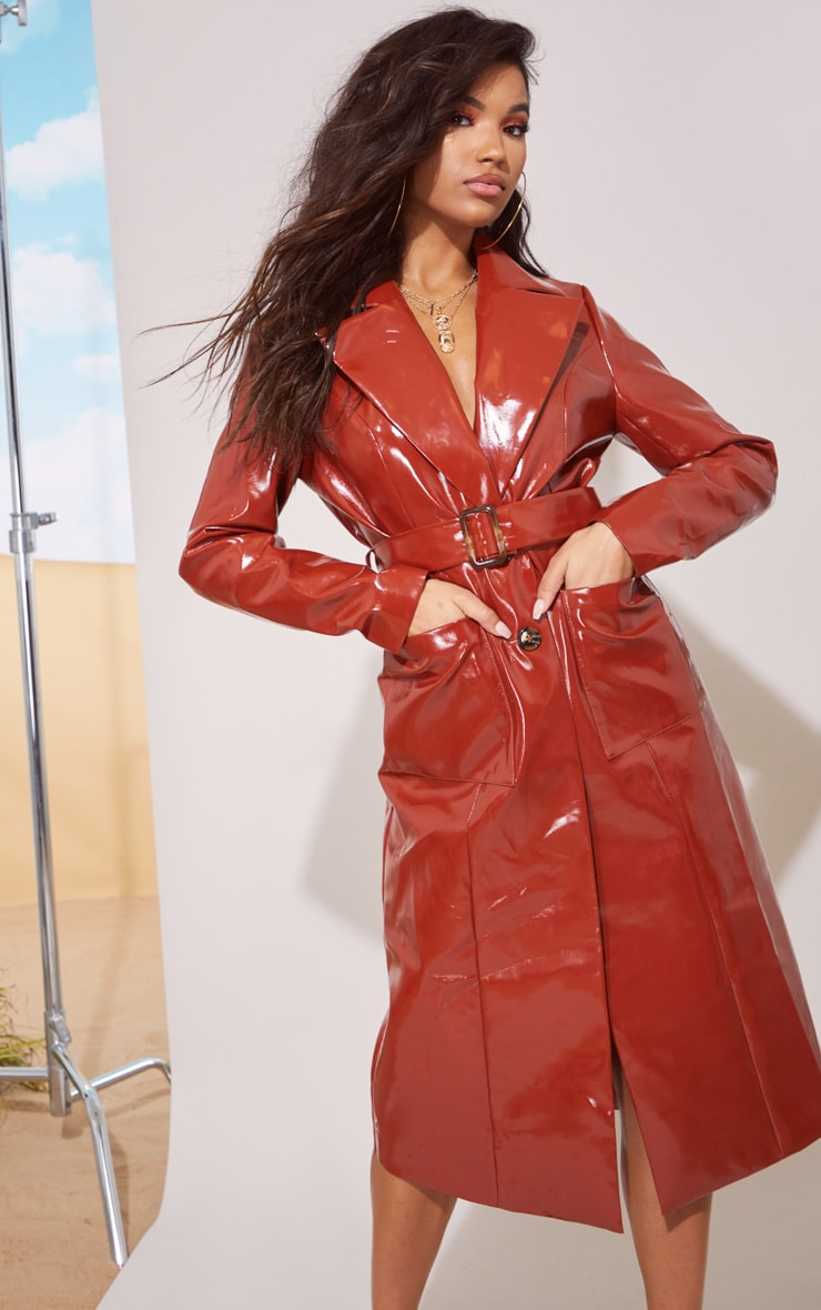 Toffee Vinyl Trench Coat 2