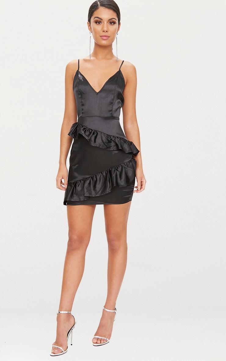 Black Plunge Frill Detail Satin Bodycon Dress 4