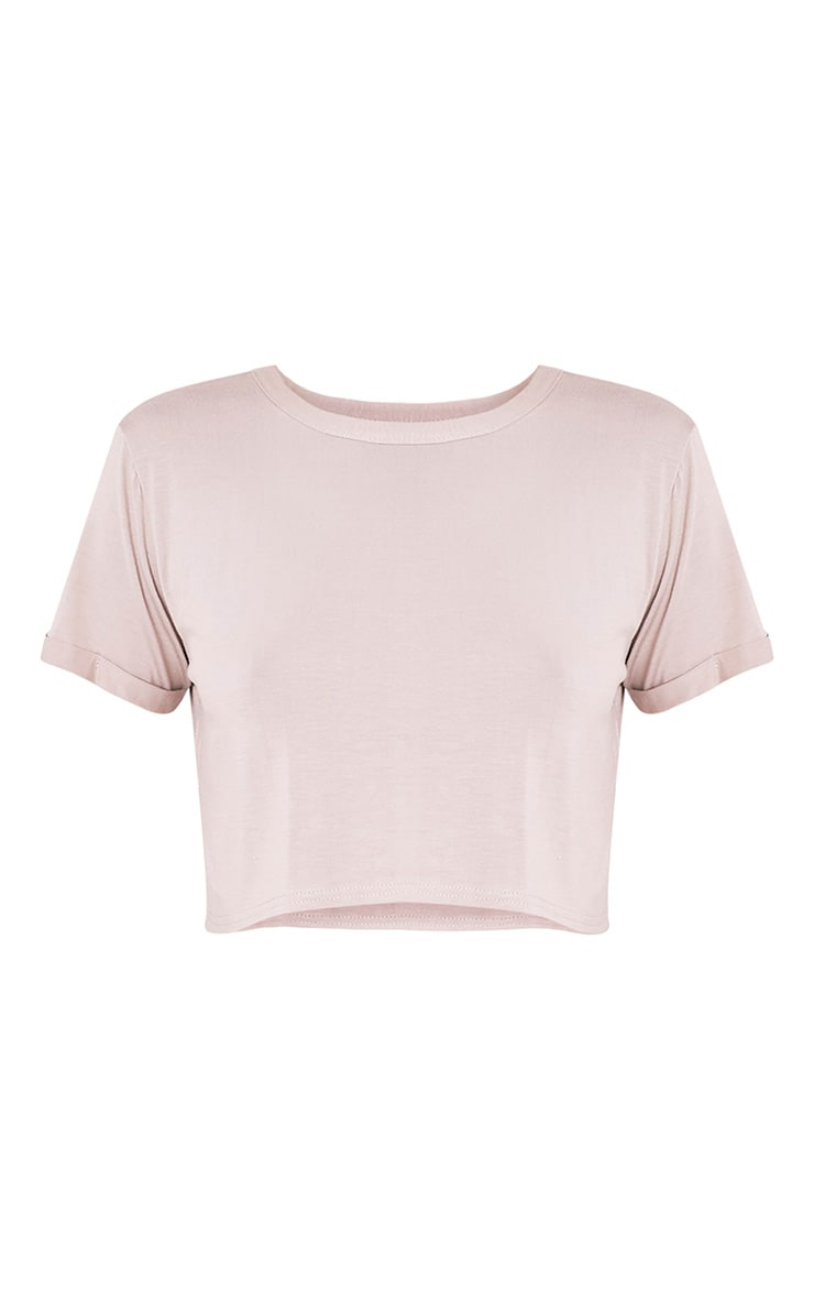 Basic Stone Roll Sleeve Crop T Shirt 3