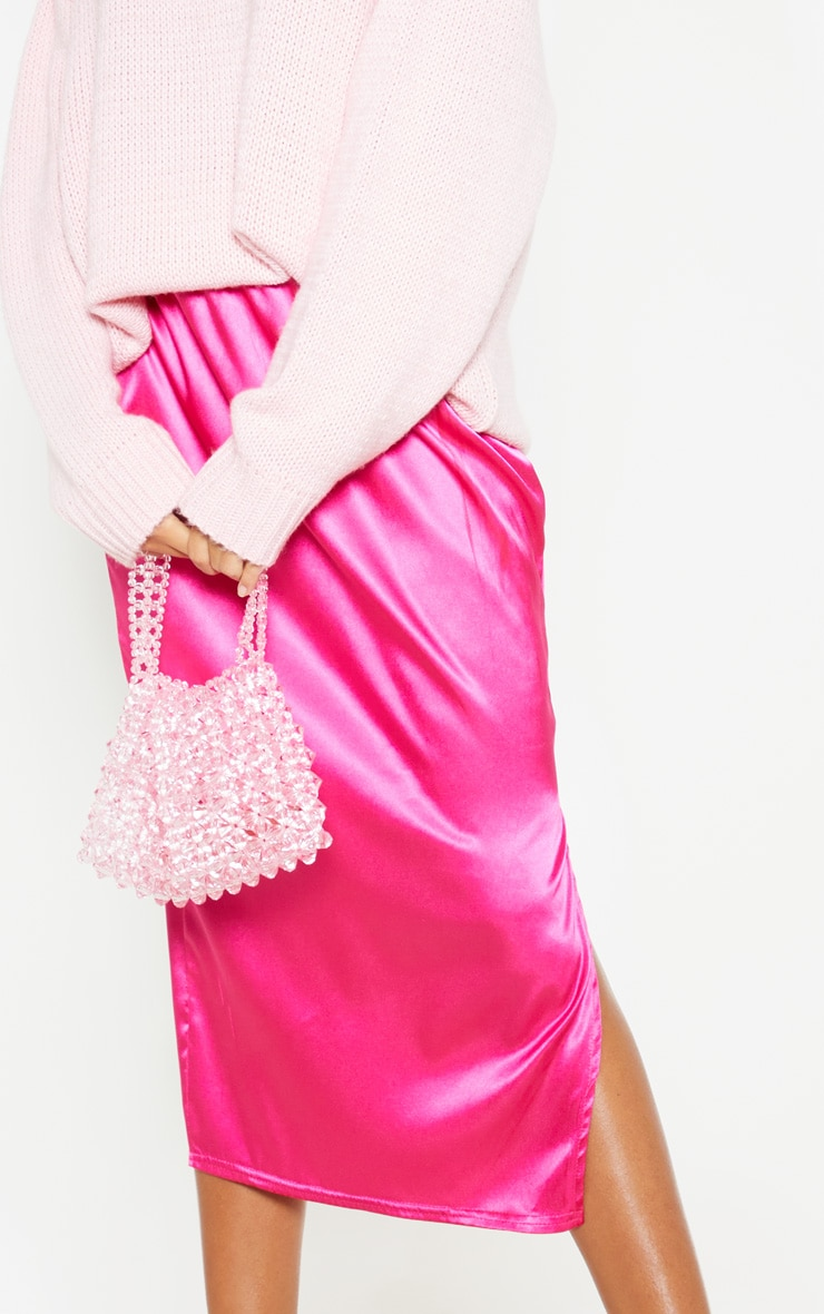 Hot Pink Satin Side Split Midi Skirt 6