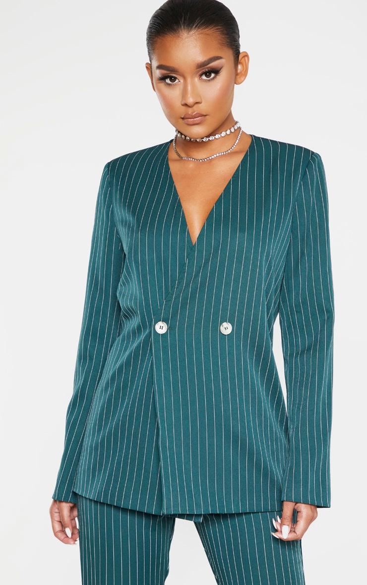 Jasper Green Pinstripe Double Breasted Oversized Blazer 1