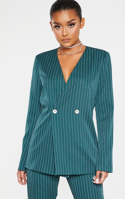 Jasper Green Pinstripe Double Breasted Oversized Blazer