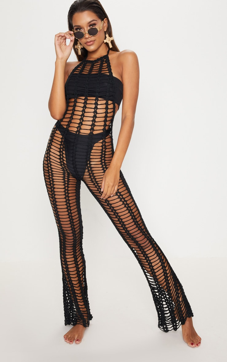 Black Crochet Jumpsuit 1