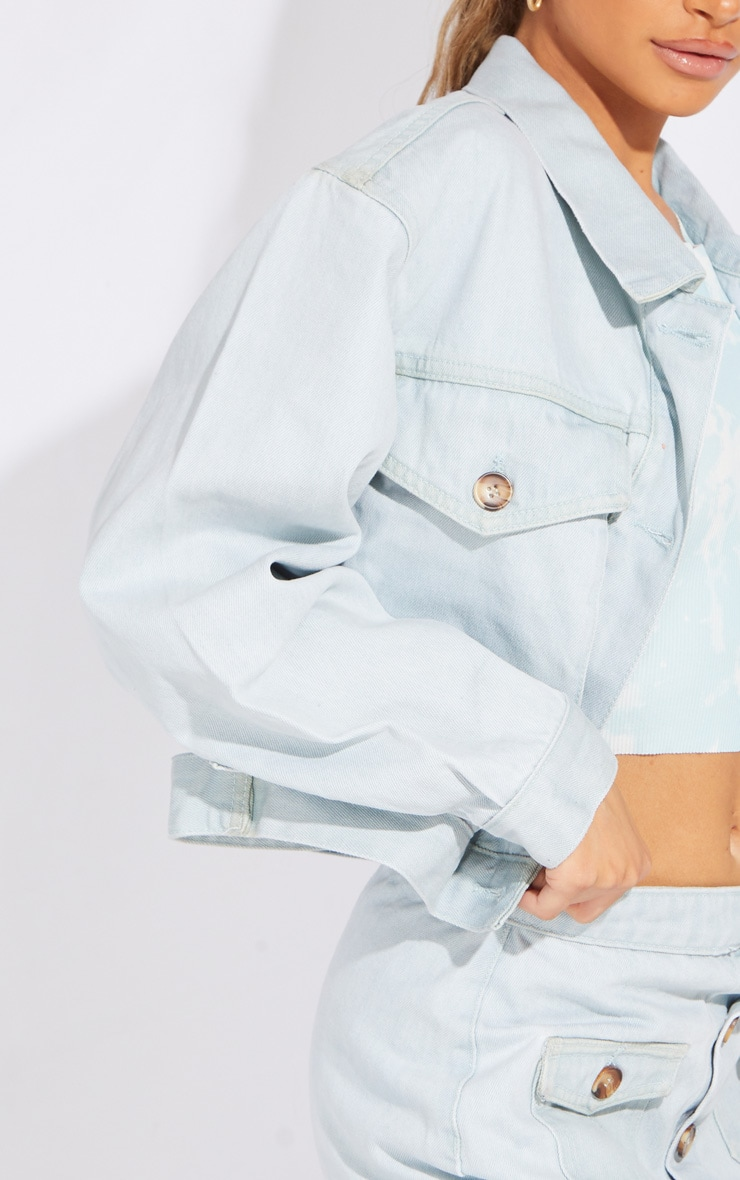 Petite Bleach Wash Oversized Denim Trucker Jacket 4