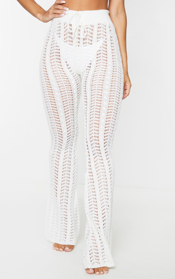 Cream Open Pointelle Cable Knitted Beach Pants 2