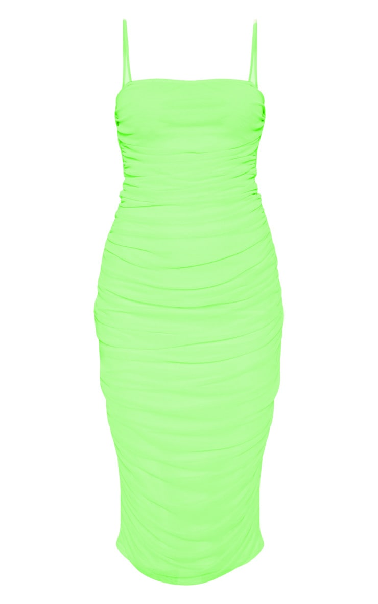 Neon Lime Strappy Mesh Ruched Midaxi Dress 3