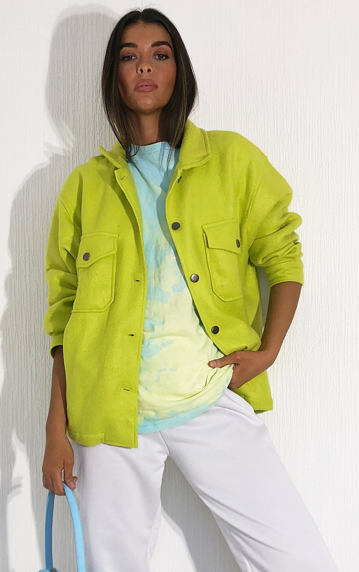 Lime Pocket Front Shacket 1