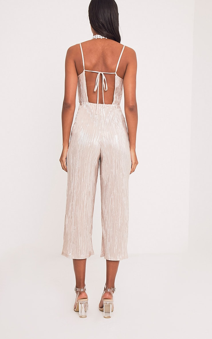 Lissy Gold Pleated Strappy Tie Back Jumpsuit 2