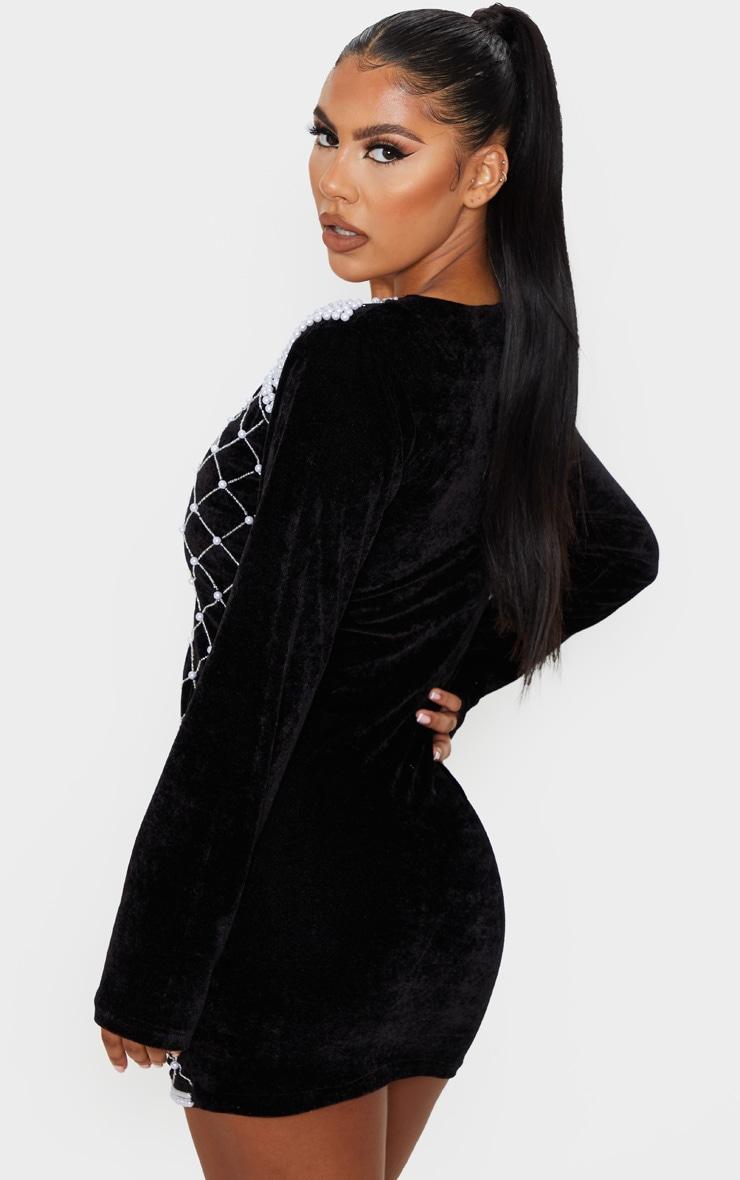 PREMIUM Black Velvet Embellished Beaded Plunge Dress 2