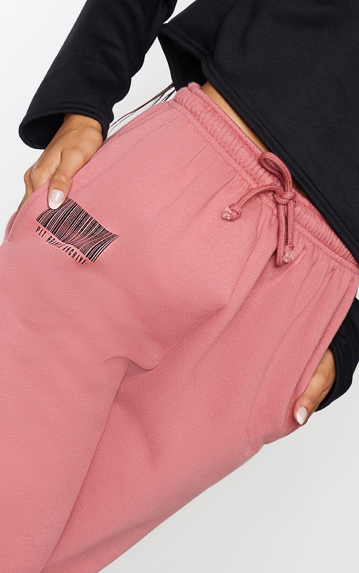 PRETTYLITTLETHING Dusty Rose Barcode Joggers 4