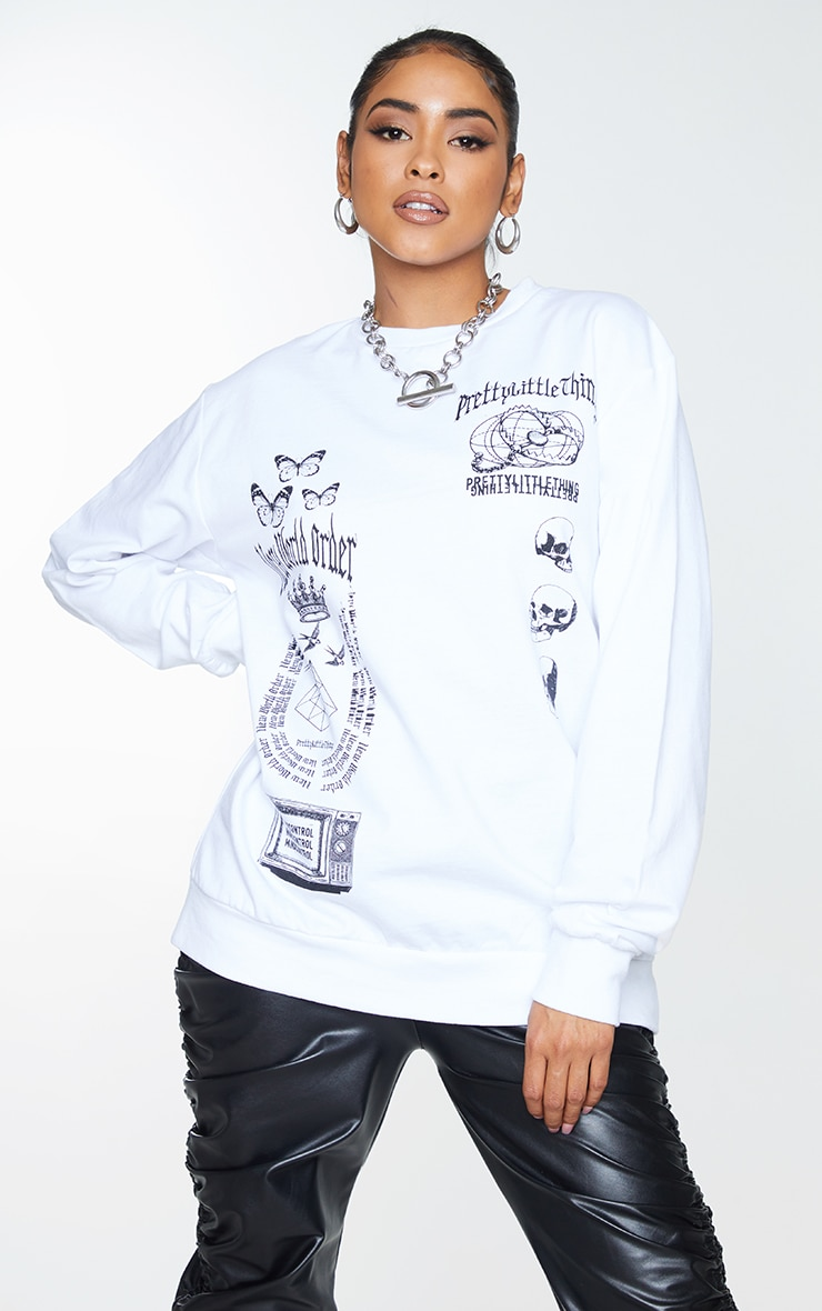 PRETTYLITTLETHING White New World Order Printed Sweatshirt 1