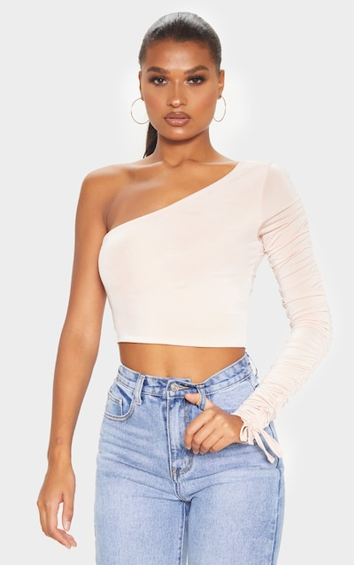 Nude Ruched Sleeve One Shoulder Crop Top