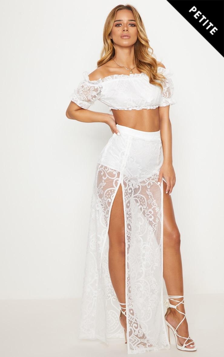 Petite White Lace Split Maxi Skirt  1