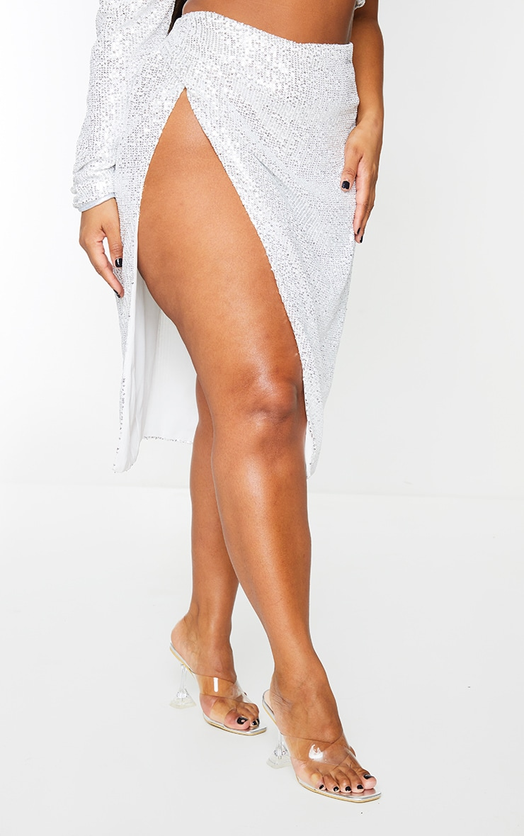 Plus Silver Sequin Ruched Side Split Midi Skirt 2
