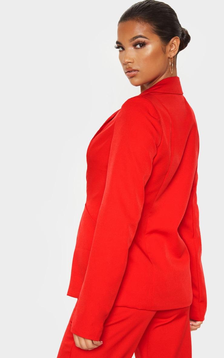 Red Oversized Pocket Front Blazer  2