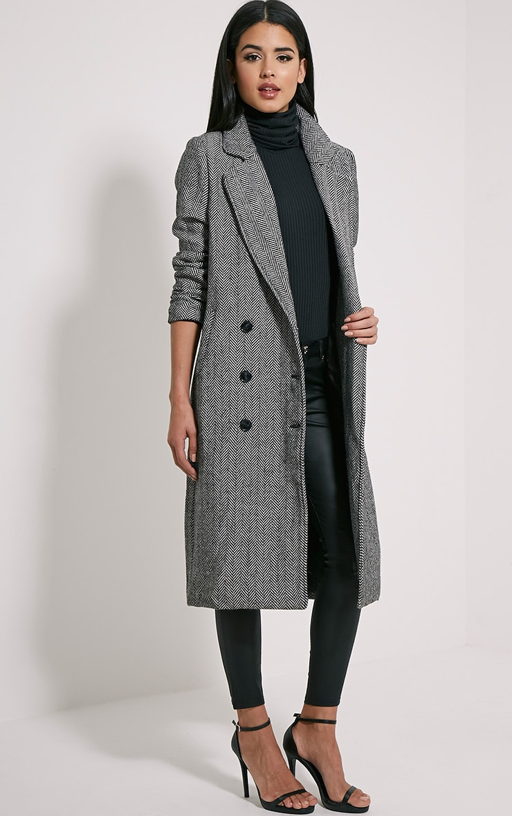 Dea Black Chevron Double Breasted Wool Coat 4