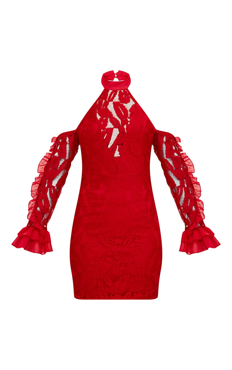 Red Lace Halterneck Frill Sleeve Bodycon Dress 3