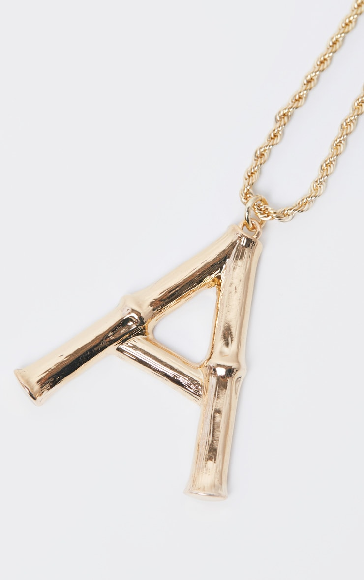 Gold A Bamboo Letter Necklace 4