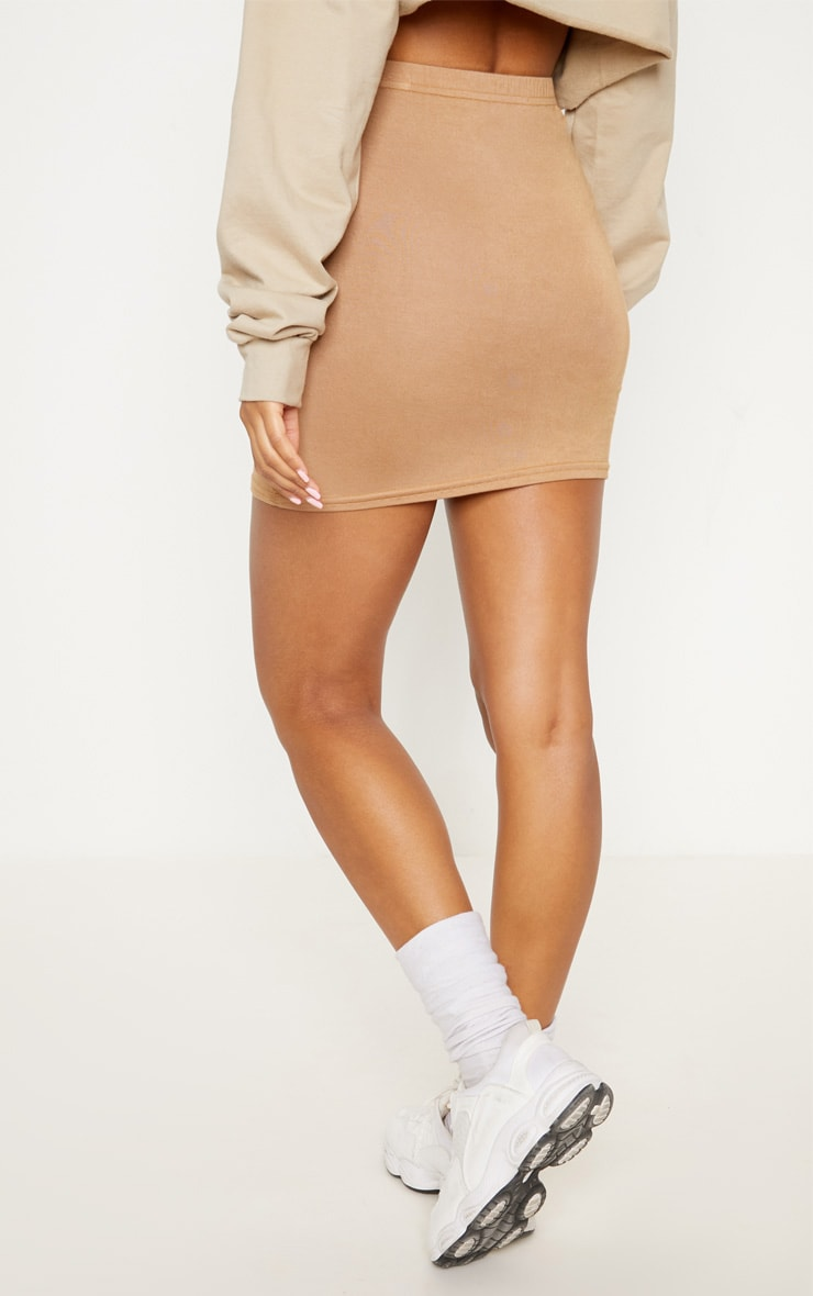 Basic minijupe en jersey camel 4