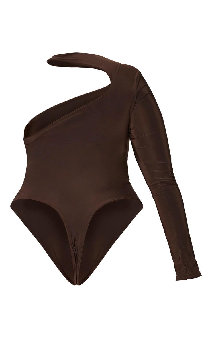 Plus Chocolate Brown Slinky Choker Neck Bodysuit 6