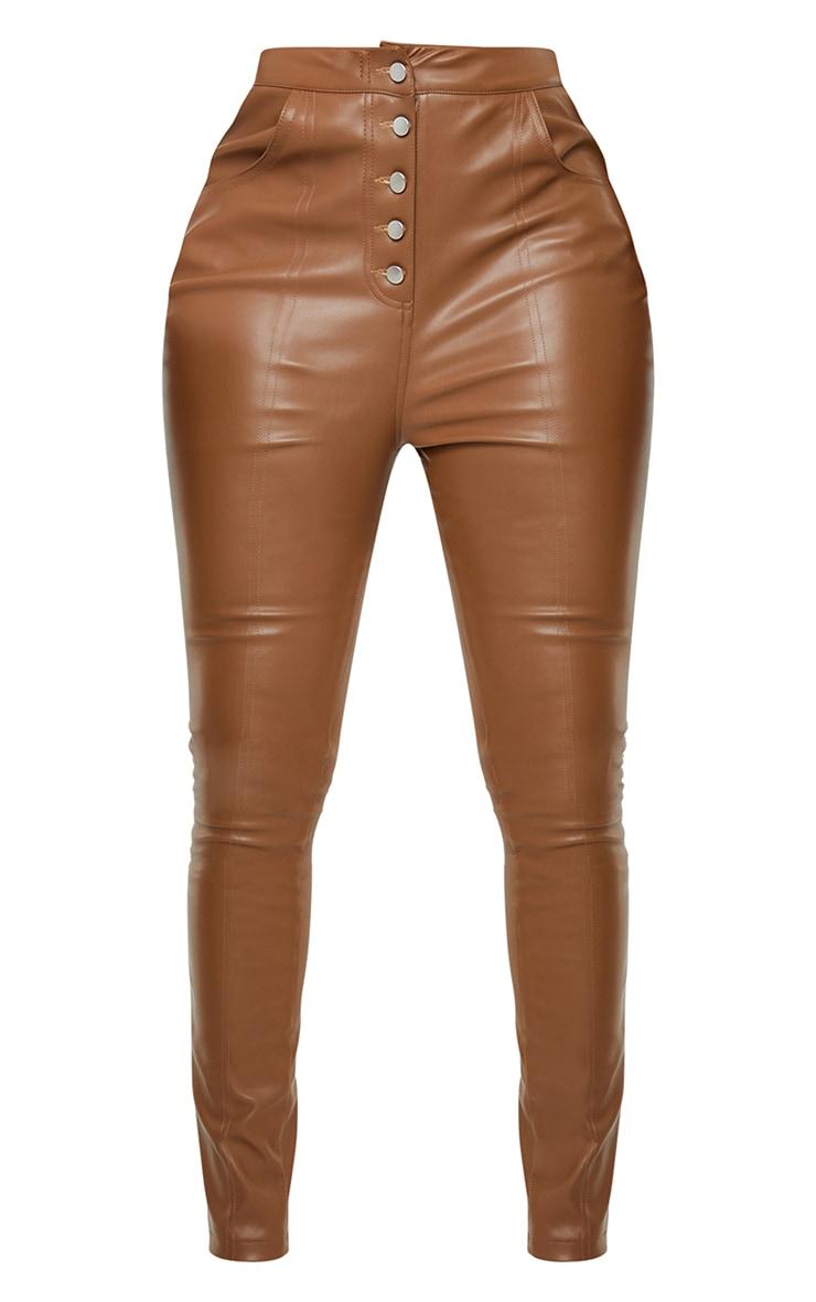 Tall Brown PU Button Detail Pants 5