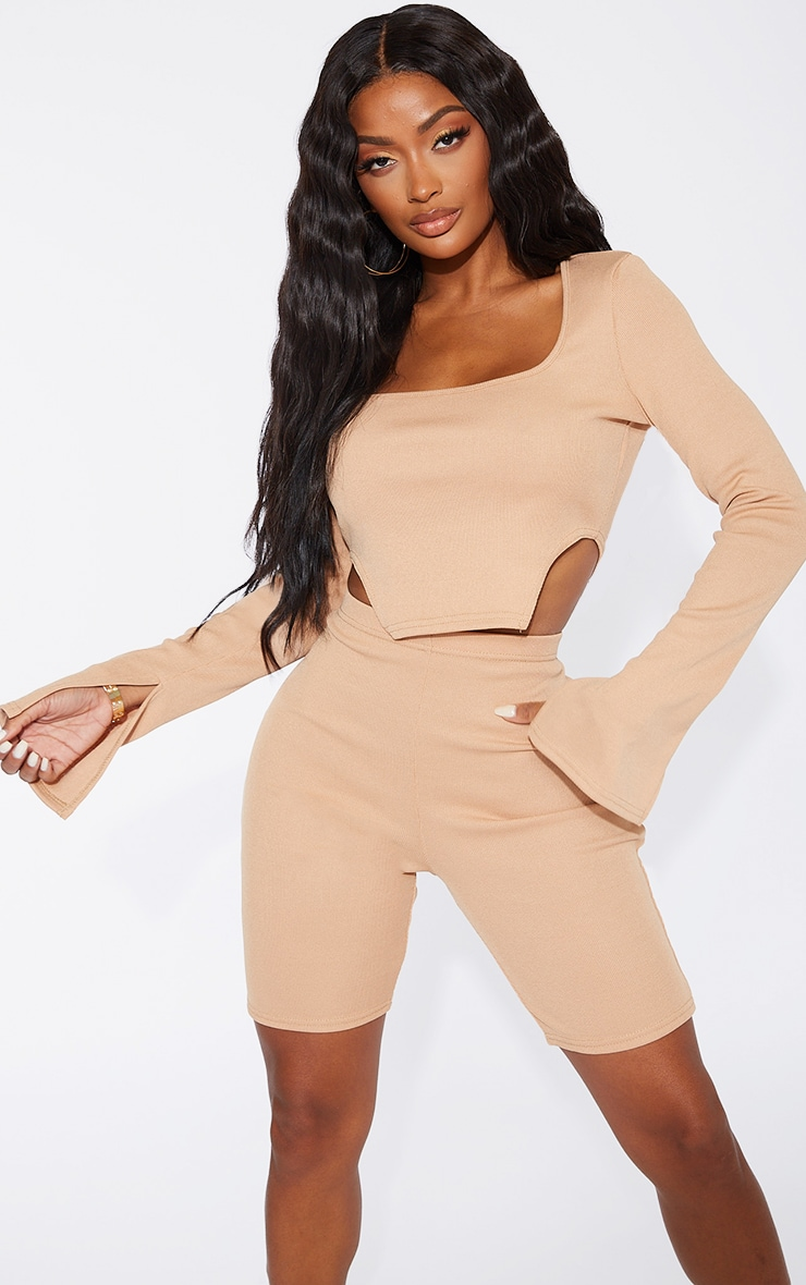 Shape Camel Rib Square Neck Cut Out Side Crop Top 1