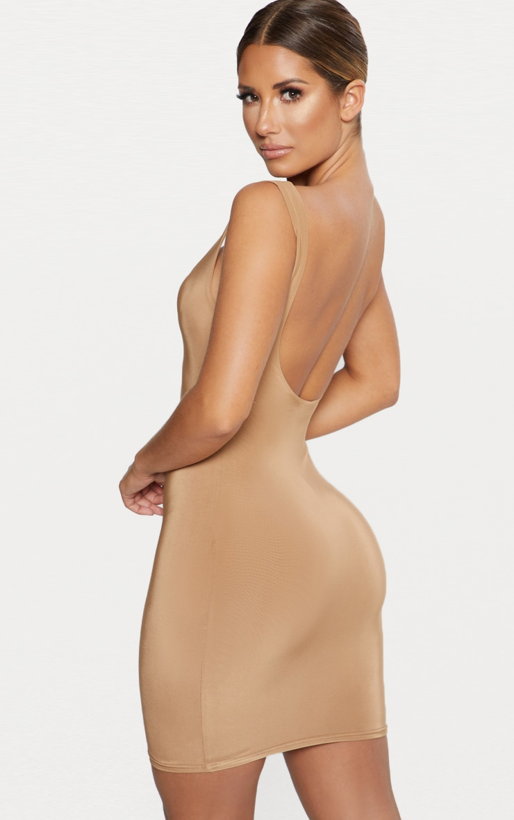 Camel Second Skin Slinky Scoop Neck Bodycon Dress 2