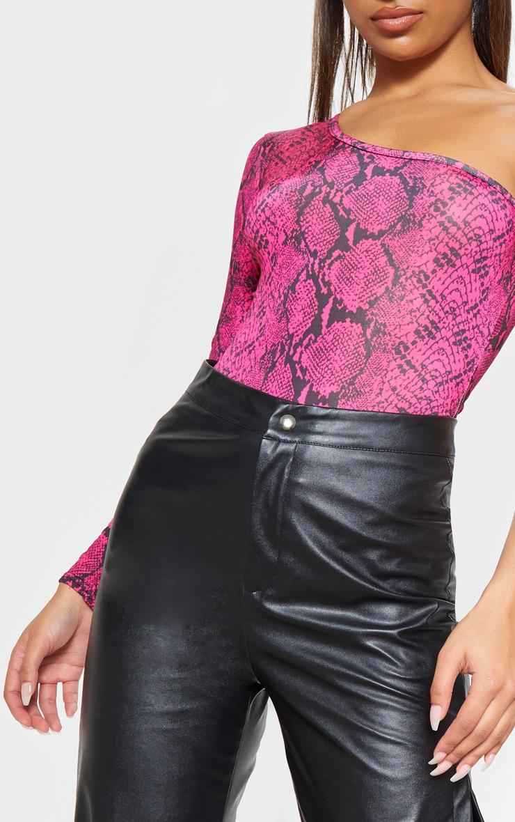 Pink Slinky One Shoulder Snake Print Bodysuit 6