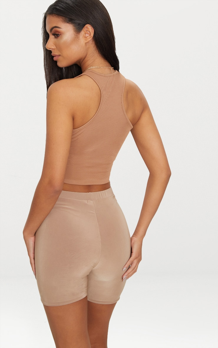 Camel Rib Racer Back Crop Top  2