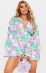 Lilac Abstract Floral Plunge Pleated Romper 3