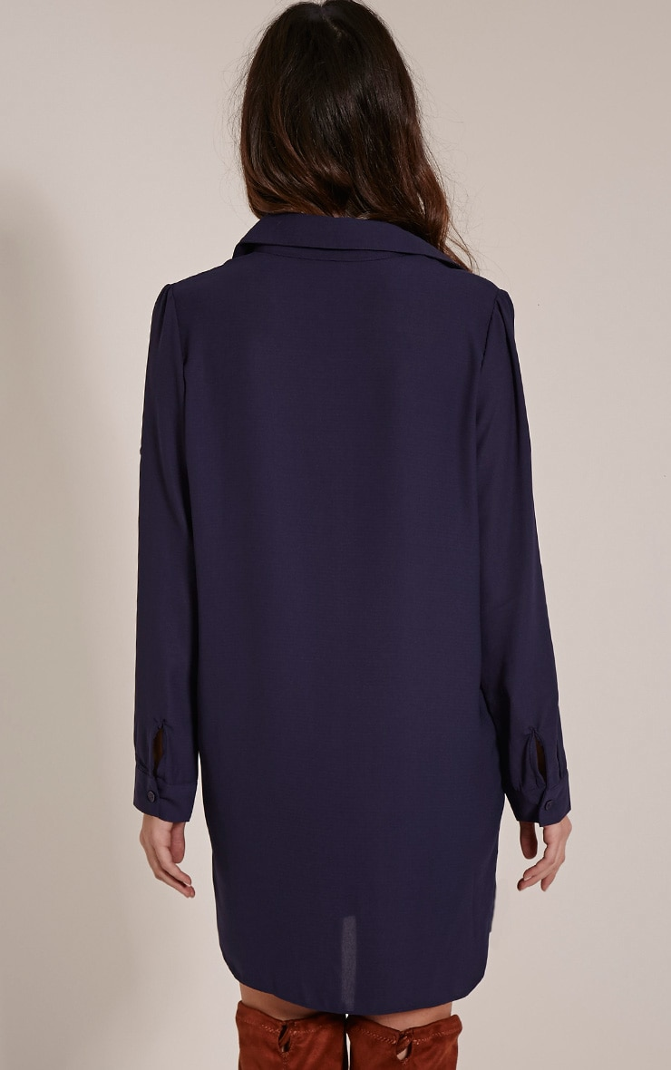 Jenna Navy Embroidered Sheer Shirt Dress 2