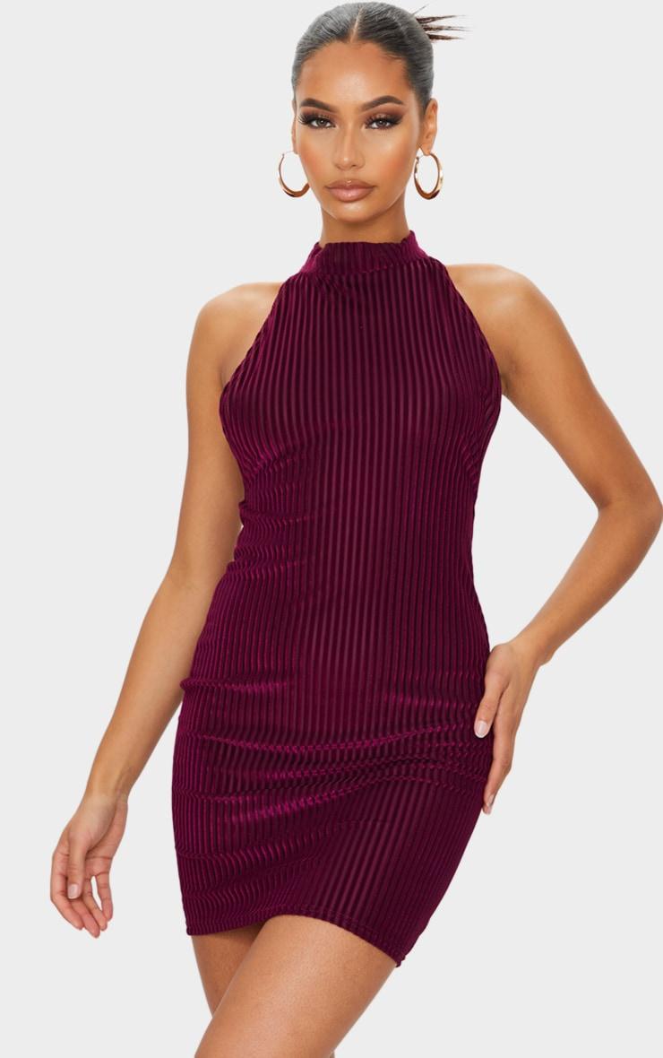 Burgundy Velvet Rib High Neck Open Back Bodycon Dress 2