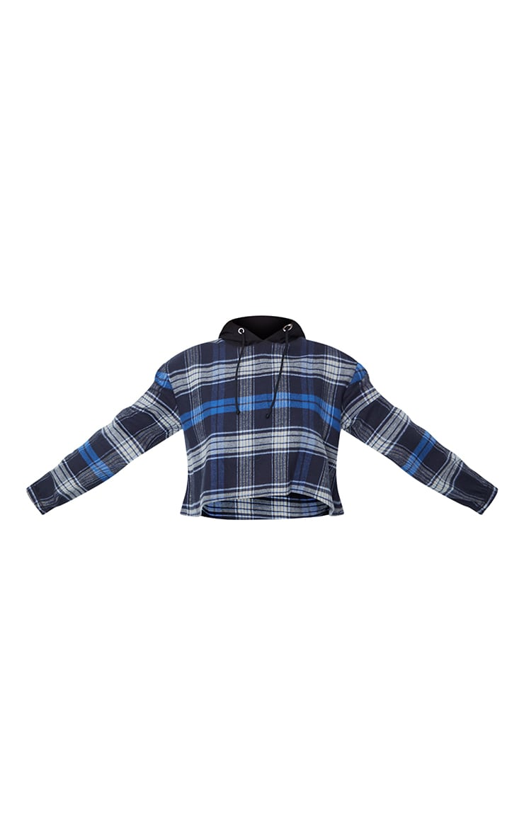 PRETTYLITTLETHING Navy Crop Hooded Check Shirt 5