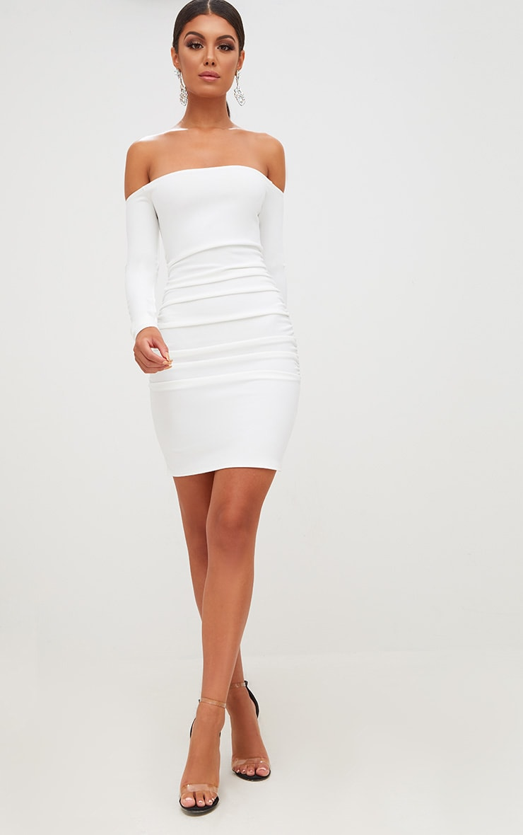 White Long Sleeve Ruched Bardot Bodycon Dress 4
