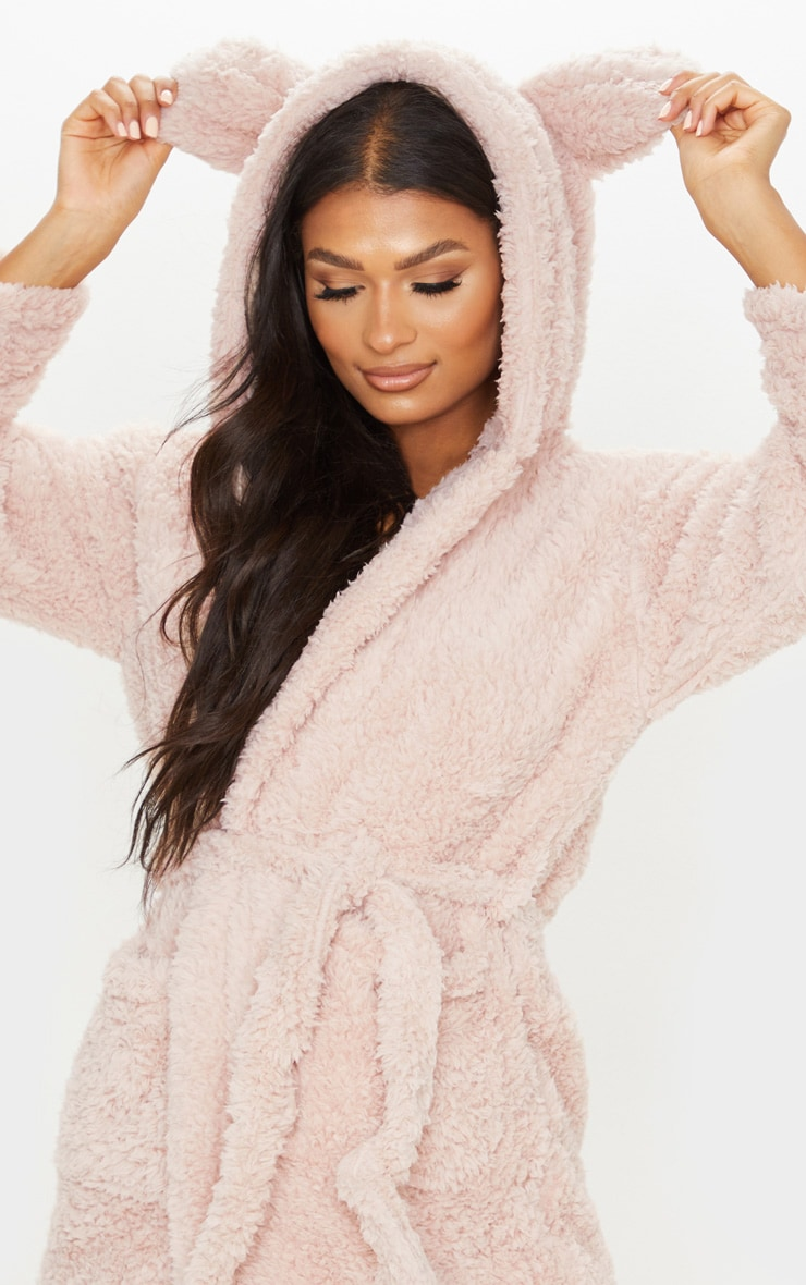 Taupe Teddy Ear Fluffy Robe 5