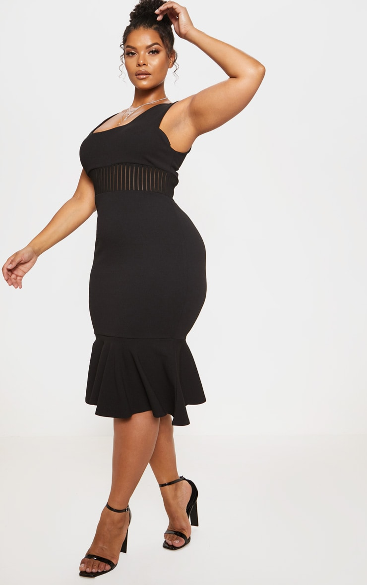 Black Stripe Mesh Panel Midi Dress 5