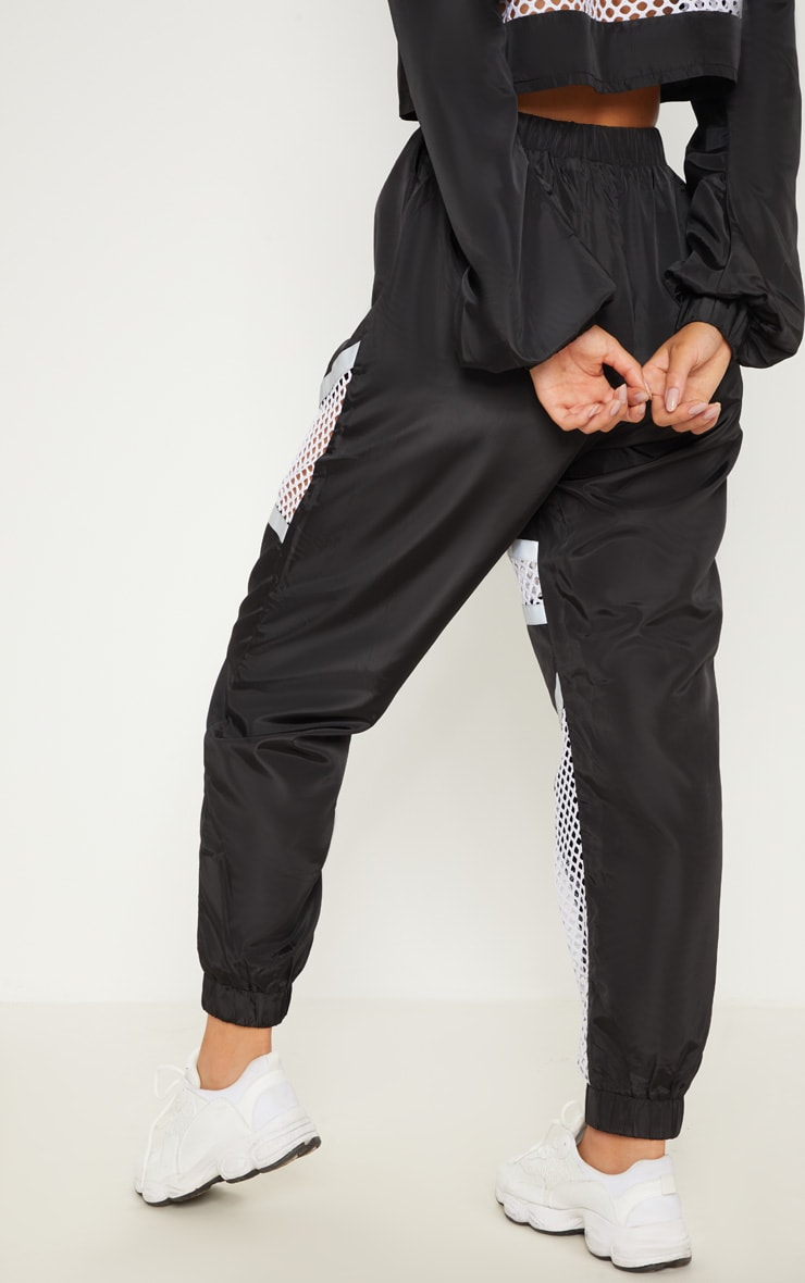 Monochrome Shell Fishnet Panel Joggers 5