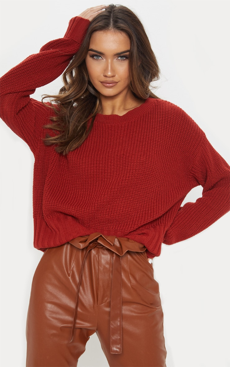 Rust Ribbed Hem Knitted Jumper