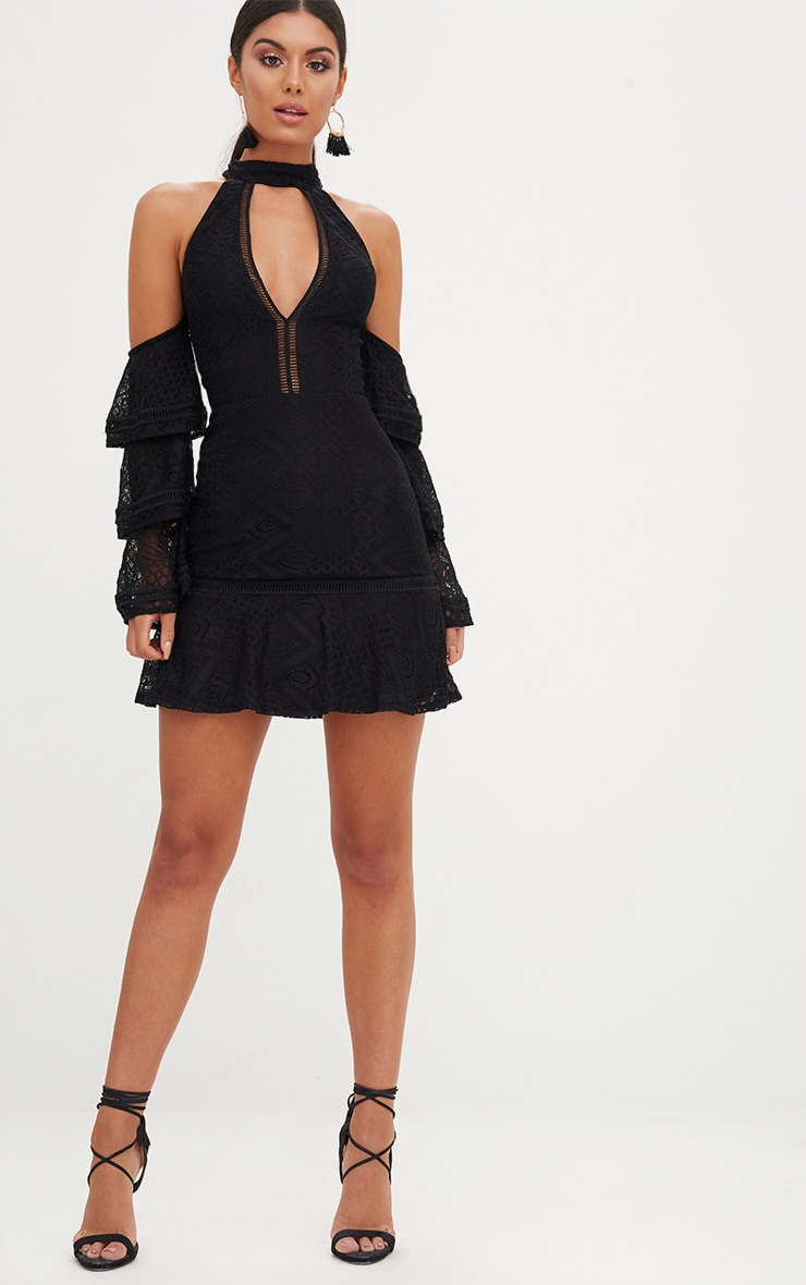Black Lace Cold Shoulder Frill Sleeve Shift Dress 3