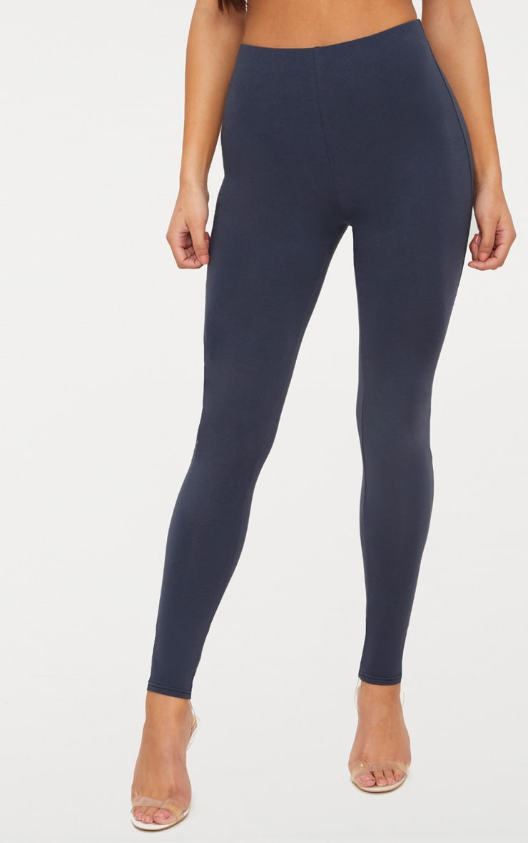 Charcoal Blue High Waisted Cotton Stretch Leggings  2