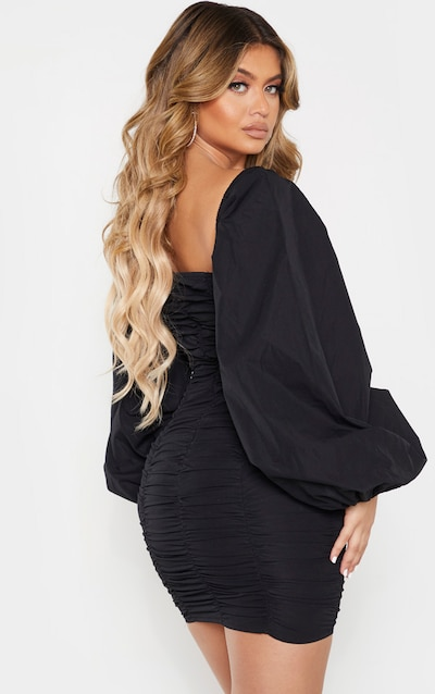 Black Balloon Sleeve Ruched Bodycon Dress