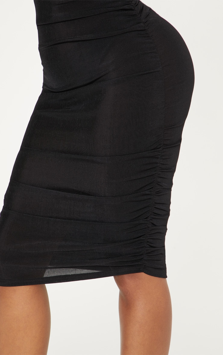 Shape Black Slinky Ruched Bodycon Dress 5