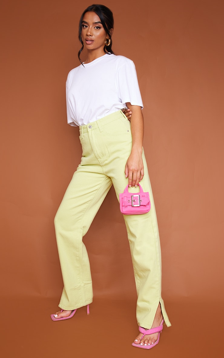 Petite Lime Denim Split Hem Jeans 1