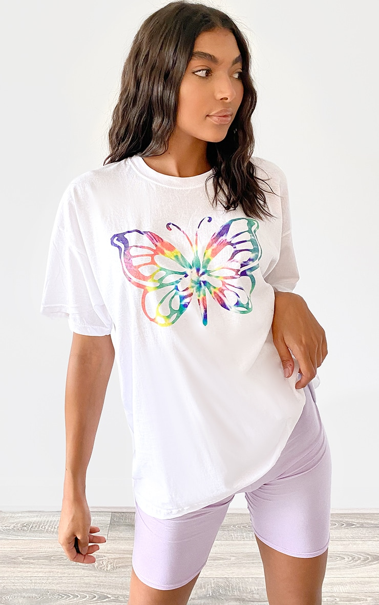 White Butterfly Printed T Shirt 3