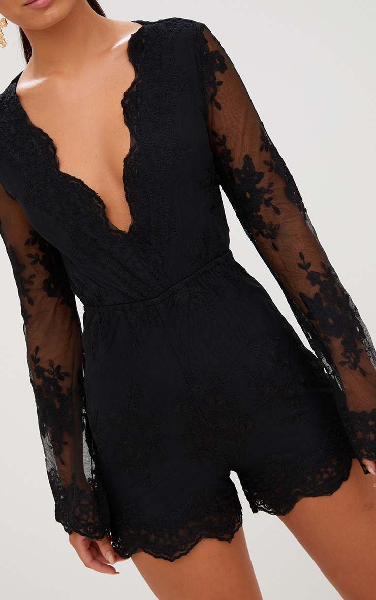 Bella Black Lace Bell Sleeve Playsuit 5