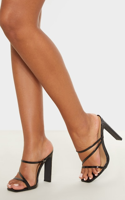Black Wide Fit Square Toe Flat Heel Strappy Mule