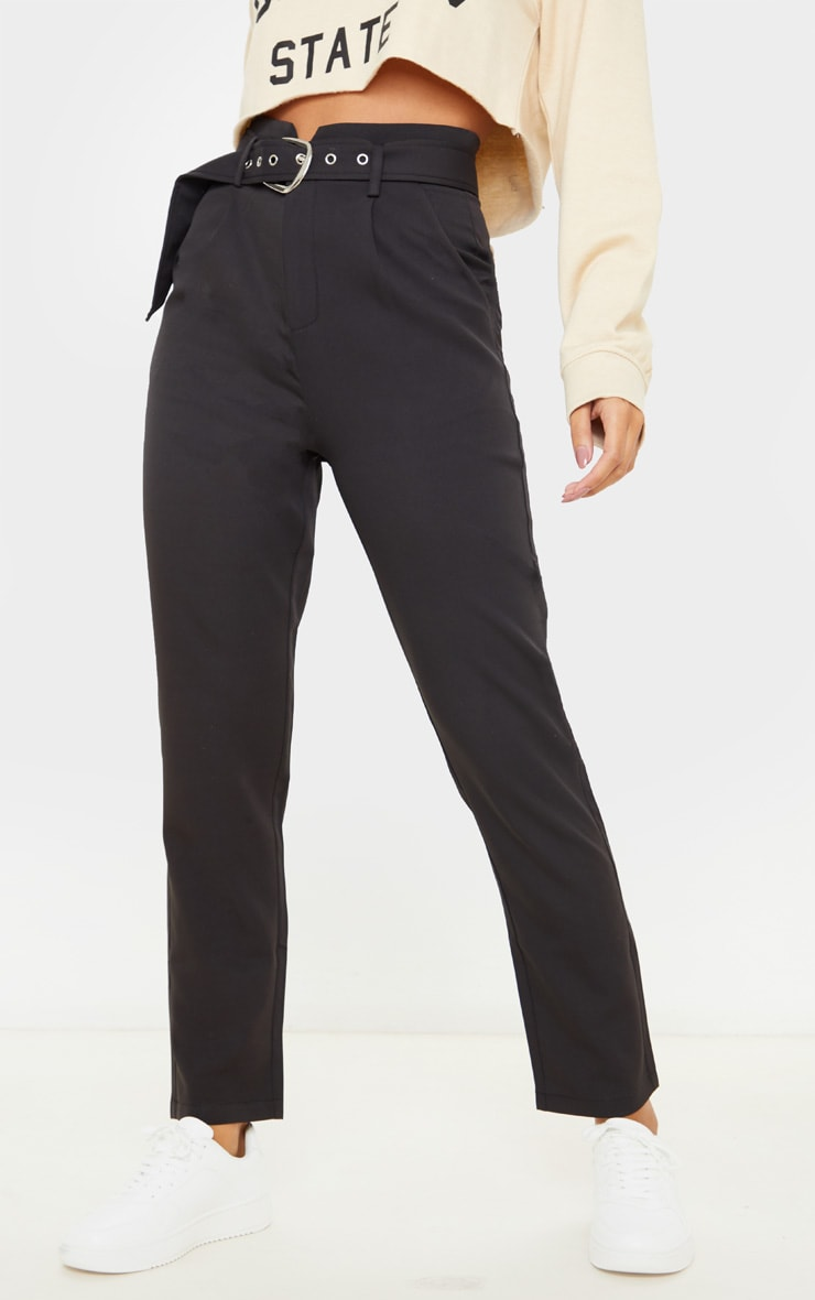 Black Belted Tapered Leg Pants 2